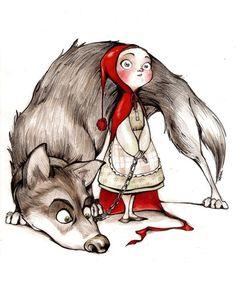 """Résultat de recherche d'images pour """"cute little wolf and red chaperon drawing"""""""