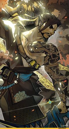 Blizzard,Blizzard Entertainment,фэндомы,Ana Amari,Overwatch,Reaper (Overwatch),McCree,Hanzo,Andernell,Overwatch art