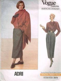 V2370 Sew Pattern Vogue American Designer ADRI Jacket Skirt Top & Shawl 8 10 12