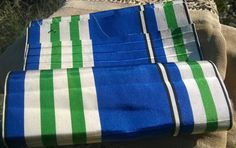 GORGEOUS rare antique extra wide French silk plaid #ribbon double sided  . Blue green white tones. Thick ribbed silk ribbon.Extra…