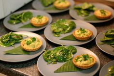 Chicken Rezala Tarts with baby spinach salad dressed with tamarind, cumin and Chilli vinaigrette