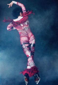 figure skater Johnny Weir in knitted outfit by Rodarte