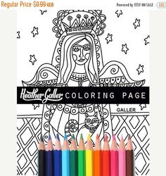 70% Off Today- Angel coloring, Folk Art coloring book, adult coloring book, coloring pages, adult coloring pages, coloring book for adults,