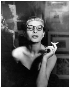 Gisela-Ebel-Penkert wearing butterfly glasses, photo by Regina Relang, 1950