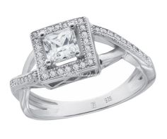 Ladies 1.00CTW Princess CZ Halo 14K White Gold-Plated Sterling Silver Split Shank Ring, Size 9. 1.00 Total Carat Weight of Flawless Cubic Zirconia with White Gold-Plated Over 925 Sterling Silver. CZ Cut: Ideal; Product Enclosed in Black Velvet Gift Box. US Size (Available in US Sizes 5 to 9 with Half Sizes; Quarter Sizes Available Upon Request). Ships Same Day if Order Received by 2:00 PM Central USA; Free USPS First Class Shipping Includes Tracking. 30-Day, Hassle-Free, Full Money Back...