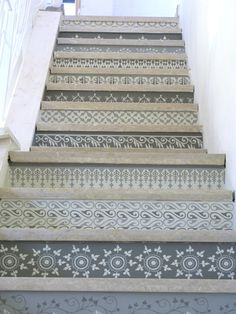 Henna inspired grey and white neutral stencil stairs