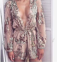 2a4ddcfca85 Champagne gold sequined flowers mesh jumpsuit with gold waist rope romper  lowest price Mesh Jumpsuit