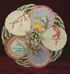 RARE Antique Wedgwood Majolica Ocean Seaweed Oyster Plate