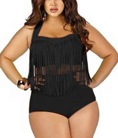 b2e3e94a33b13 Imilan Women s Plus Size Retro High Waist Padded Bikini Braided Fringe Top  Swimwear