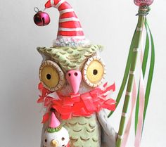 Winter Owl with Snow Doll Original Folk Art Decoration in Red Green and Grey reserved by indigotwin on Etsy https://www.etsy.com/listing/112307150/winter-owl-with-snow-doll-original-folk