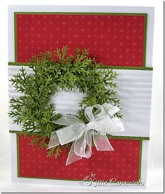 Paper: SU DP Olive White Accessories: Organdy Crimper MS Pine Punch Gloss Accents Read more: www. Stamped Christmas Cards, Christmas Paper Crafts, Homemade Christmas Cards, Christmas Cards To Make, Noel Christmas, Christmas Greeting Cards, Christmas Greetings, Homemade Cards, Handmade Christmas