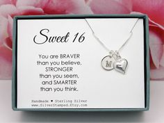 Sweet 16 Birthday Gift for girl Necklace, Sterling Silver Initial, You are braver than you believe, Personalized Gift, birthday present Sweet 16 Presents, Sweet 16 Gifts, Presents For Girls, 16 Birthday Presents, Sweet 16 Birthday, Teen Birthday, Birthday Wishes, Happy Birthday, 16th Birthday Ideas For Girls