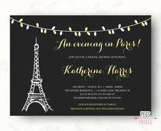 An Evening in Paris Bridal Shower Invitation - Parisian Theme Wedding Baby Shower Birthday Invite (Printable) by PegsPrints
