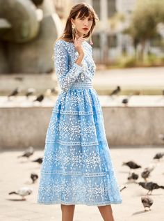 Costarellos Spring Summer 2018 Collection <br />SS18-30<br />Embroidered Tulle Tea Length Ball Dress, Riviera Blue