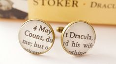 Count Dracula bronze cufflinks literary halloween