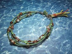Green Silver and Copper Boho Tassel Style Anklet by BeadDazzlers on Etsy