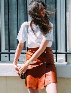 Wanted : une jupe portefeuille en cuir (jupe Filippa K - blog The Blab)