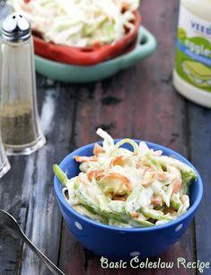 Basic Coleslaw Recipe Quick Salad Recipes, Cabbage Salad Recipes, Vegetarian Salad Recipes, Healthy Salads, Coleslaw Sandwich, Coleslaw Salad, Leafy Salad, Mint Salad, Indian Salads