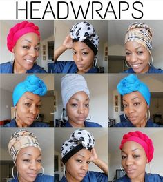 Image may contain: 10 people Hair Wrap Scarf, Hair Scarf Styles, Curly Hair Styles, Natural Hair Styles, Head Scarf Tying, African Head Wraps, African American Hairstyles, Scarf Hairstyles, Facon