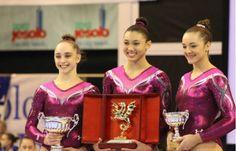 Senior All Around medalists, Peyton Ernst, Kyla Ross and Maggie Nichols--Jesolo Trophy 2014