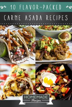 10 Flavor-Packed Carne Asada Recipes   Tender, juicy and flavorful carne asada recipe = The BEST Homemade Recipe for Dinner or Parties! http://homemaderecipes.com/carne-asada-recipes/