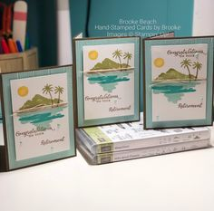 Stampin' Up! Retirement cards with the Waterfront stamp set and Wild About Flowers