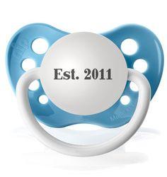 Est 2011 Baby Boy Pacifier  www.SpecialBabyShowerGifts.com