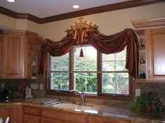 Great ideas for different window treatments! Drapery crowns too.interior visions - Changes~ Big and Small Curtains And Draperies, Modern Curtains, Valances, Hanging Drapes, Modern Window Coverings, Kitchen Window Treatments, Beautiful Curtains, Curtain Designs, Curtain Ideas