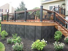 I like this style Staci Flick Flick Flick Flick Morrow - Home & DIY Deck Railing Design, Patio Deck Designs, Deck Railings, Backyard Patio, Backyard Landscaping, Landscaping Around Deck, Deck Skirting, Deck Colors, Fire Pit Materials