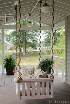 LLH DESIGNS: The 2013 Southern Living Idea House: Rustic Meets Refined: Ballard Designs Porch Swing: Right outside french doors. Outdoor Rooms, Outdoor Living, Outdoor Decor, Outdoor Kitchens, Halls, Southern Living Homes, Decoration Inspiration, Decks And Porches, Front Porches