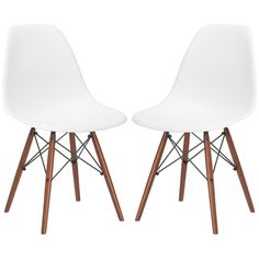 Edgemod Furniture - Set of 2 - Eames Style Molded Plastic Dowel-Leg Dining Side Chair (DSW) Walnut Legs