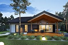 Modern Bungalow House Design, Modern Bungalow Exterior, Dream House Exterior, Small House Design, Modern House Plans, Small House Plans, Modern Farmhouse Exterior, Modern Cottage Style, House Deck