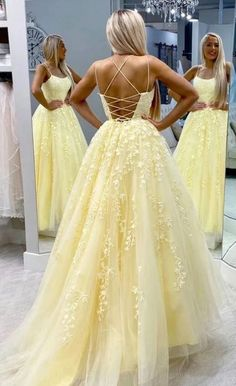Yellow Lace Prom Dress Backless, Evening Dress ,Winter Formal Dress, Pageant Dance Dresses, Graduation School Party Go / friday dresses in new fashion Pretty Prom Dresses, Backless Prom Dresses, Tulle Prom Dress, Prom Party Dresses, Formal Evening Dresses, Ball Dresses, Cute Dresses, Tulle Lace, Yellow Prom Dresses