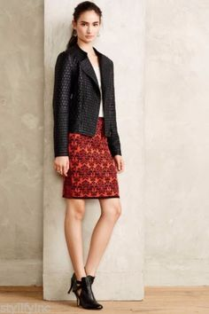 NWT-Anthropologie-Jacquard-Sweaterknit-Pencil-Skirt-Sz-L-by-Moth