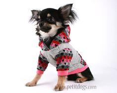 Dog Clothes XS Pink heart stripe pocket dog hoodie