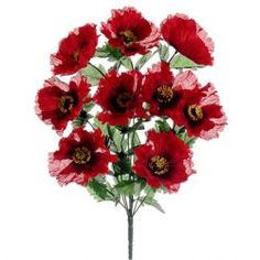 "21.5"" Silk Poppy Flower Bush -Red"