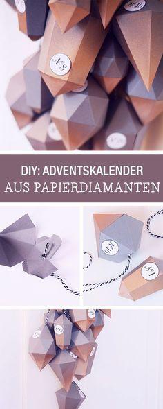 Adventskalender aus Papier-Diamanten selbermachen / paper diamonds as an advents calendar via DaWanda.com