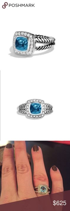 David Yurman Petite Albion Ring 100% authentic.  GORGEOUS. Hampton Blue Topaz and Diamonds.  It has been sized once by David Yurman corporate. (see last pictures).  This ring is amazing and looks brand new.  I only wore it for about a month because I am allergic to the oxidation in the metal. David Yurman Jewelry Rings