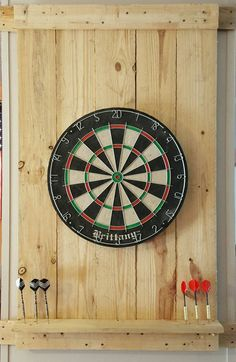 This handmade finished pallet dart board is perfect for any gathering, big or small! It comes stained, painted & completely sealed. Also included is the circular dart board. Customization can be requested on stain color or paint. It stands about 44 tall x 26 wide. (The sample picture shown has NO stain, which is the original look)