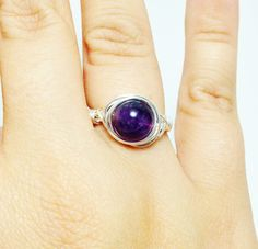 Amethyst Ring Wire Jewelry Handmade Silver by TheSilverFindings, $14.00