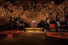 Coca-Cola pavilion by Atelier Marko Brajovic, Rio de Janeiro – Brasil Coca Cola Brands, Bamboo Structure, Design Movements, Lounge Design, Stage Design, Retail Design, Visual Merchandising, Pavilion, Interior Architecture