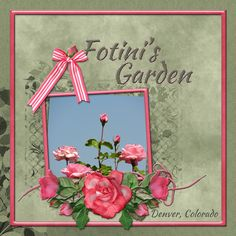 Fotini's Garden ... digital scrapbooking layout made by CT artist poki for Mask It challenge Sept 2017 at Go Digital Scrapbooking.  Digital Kit - Over the Fence Designs A ROSE BY ANY OTHER NAME Mask - freebie for the challenge from PattyB Scraps