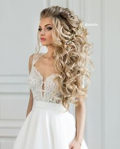 wedding hairstyles down #weddinghair #halfuphalfdown #hairstyle #hairdown #bridalhair