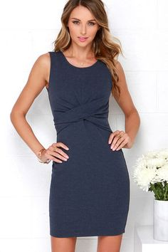 The perfect dress to have you looking spontaneously sexy is definitely the Madison Square Royal Twist Denim Blue Dress! The denim blue, cotton-blend stretch knit has a casual, washed finish shaping a rounded neckline, and sleeveless bodice with flattering twisted accent at front. The sultry bodycon skirt and low-dipping back complete this effortlessly chic look! Hidden back zipper and clasp. Fully lined. 65% Cotton, 35% Polyester. Hand Wash Cold. Imported.