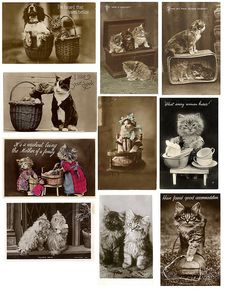 Cats in Art, Illustration, Photography, Decorative Arts, Textiles, Needlework and Design: collage sheet- vintage cats
