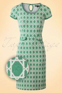 60s Bistro Tulip Dress in Oil Green
