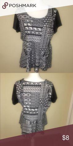 Peplum top Pleather sleeves, cotton top! Very flattering Tops Blouses