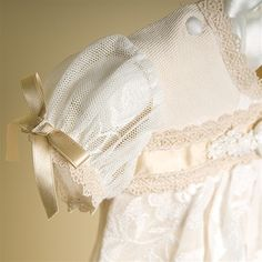 Louisa Christening Gown | Gold Silk Satin Ribbons | Hand Made Chiffon Ivory Flowers