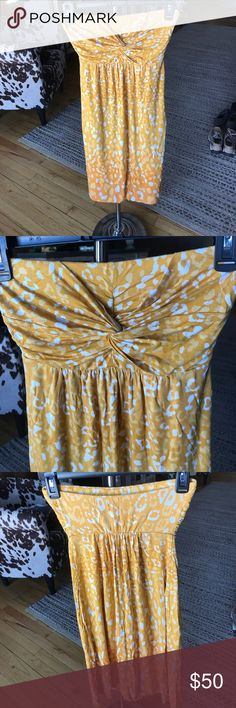 """Soma Yellow/White Strapless Sundress Adorable yellow and white """"leopard print"""" strapless sundress. Can attach straps (not included). Extremely comfortable and soft fabric. Used, but in good condition. XS but fits small and medium. Perfect for summer! I'm 5'2"""" and it comes just below my knees. Soma Dresses"""