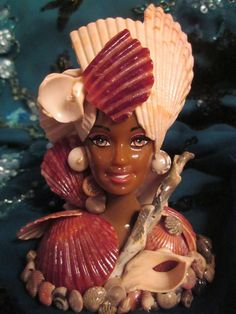 Seashell encrusted Mermaid Bust Doll Mannequin head doll.